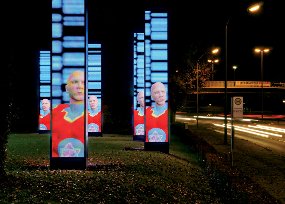 SCREENSAVERS for Osram Seven Screens interactive media installation on LED Screens/ installation in public space, 2008
