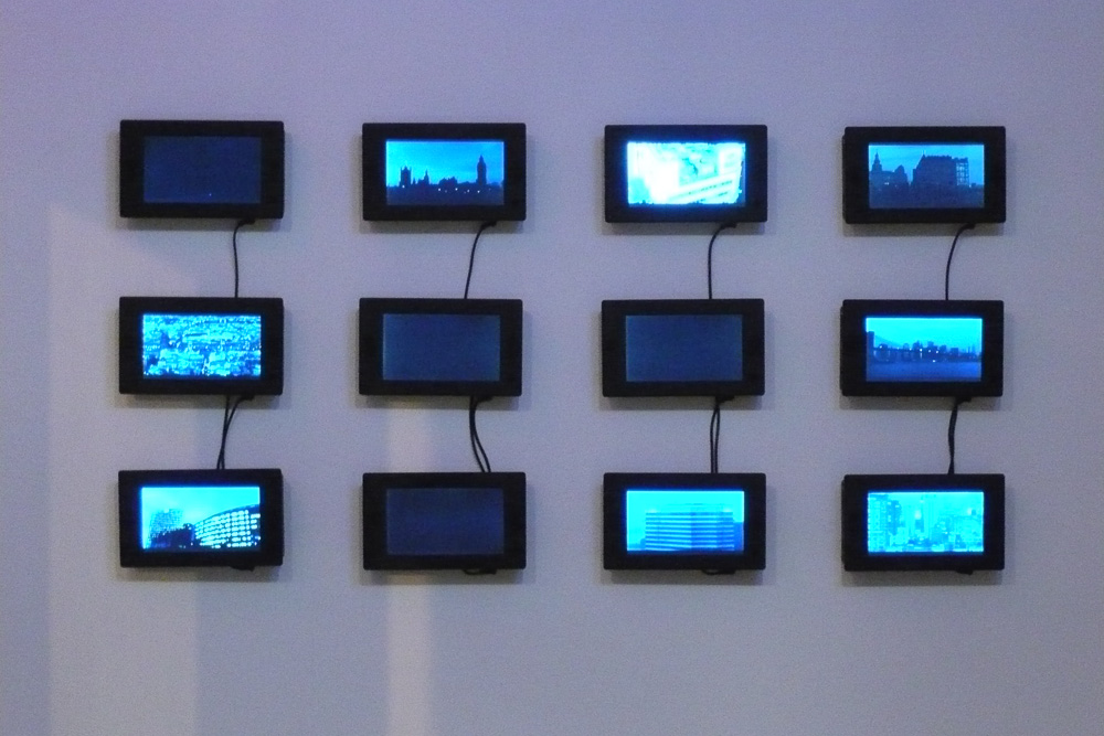 Bjørn Melhus, The City, Video Project, 2007, (Photoframe Variante) Installation View at Roebling Hall, New York, 2007
