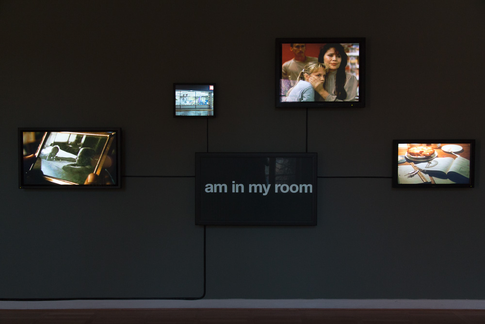 Bjørn Melhus: This is my Home, 5 channel video installation on 5 flat screens, 2011, installation view: Live Action Hero, Haus am Waldsee, Berlin, 2011