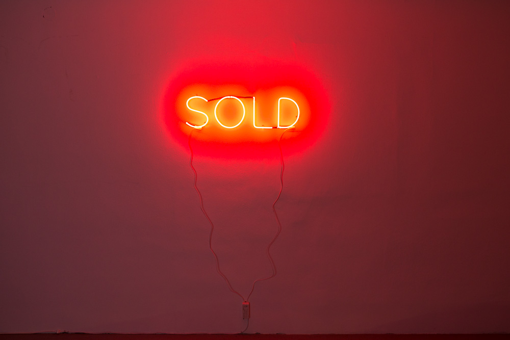Bjørn Melhus: SOLD, neon sculpture, part of LIBERTY PARK, but also independent, 2013