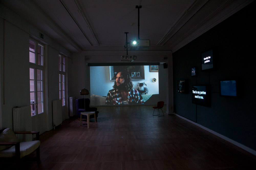 Bjørn Melhus, I'm Not The Enemy, HD Video, 25 min., 2011, Installation View: Live Action Hero, Haus am Waldsee, 2011, Photo: Yuki Jungesblut