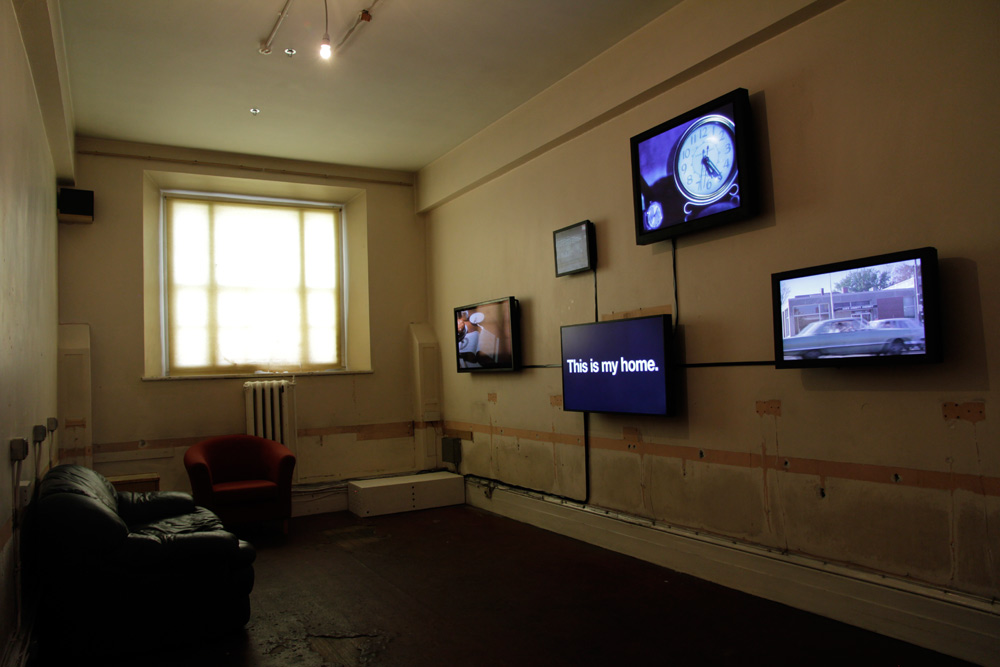 Bjørn Melhus: This is my Home, 5 channel video installation on 5 flat screens, 2011, Installation view: Dublin Contemporary, Dublin, 2011